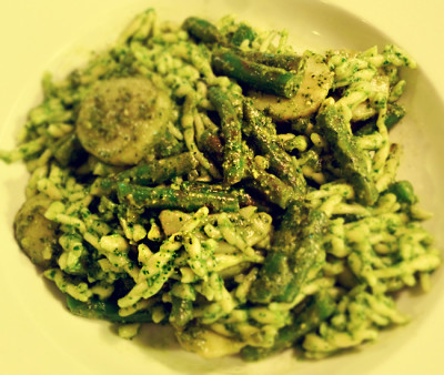 Italian food called Trofie with pesto from Liguria, Italy.