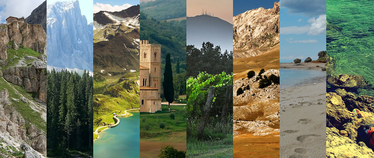 7 different landscapes and regions of Italy