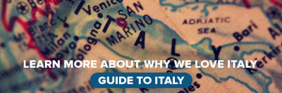 Map of Italy with text describing why we love Italy