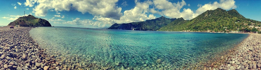 Panoramic view of Scott's Head on the Caribbean island of Dominica