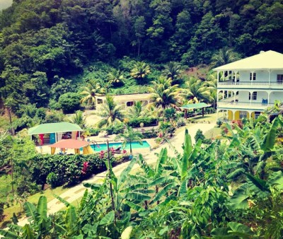 View of a hotel tucked into the rain forest on the Caribbean island of Dominica