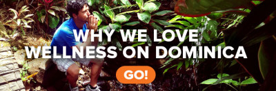 "A man meditating while in the rainforest with the text ""Why we love wellness on Dominica"""